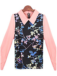 Women's Print Pink Tops & Blouses , Casual Round / Stand Long Sleeve