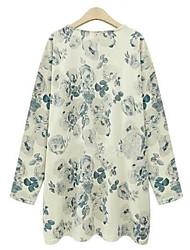 Women's Plus Size Fall Shirt,Print Round Neck Long Sleeve Multi-color Polyester Medium