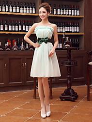 Knee-length Chiffon Bridesmaid Dress - Sage A-line Strapless