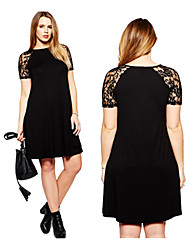 Women's Patchwork Black Dresses , Casual / Lace Round Short Sleeve