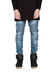 2015 New Mens Skinny jeans Runway Distressed slim elastic jeans denim Biker jeans hiphop pants