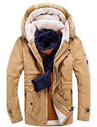 Men's Hoodie / Stand Coats & Jackets , Cotton Blend / Polyester / Viscose Long Sleeve Casual / Work Fashion  URUN