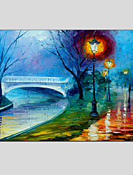 Oil Paintings Modern Landscape Rainy Street Canvas Material With Wooden Stretcher Ready To Hang SIZE:60*90CM.