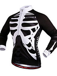 WOSAWE Cycling Jersey Unisex Bike Jersey Tops Windproof Reflective Strips Back Pocket 100% Polyester SkullsCamping / Hiking Exercise &