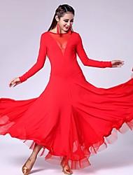 Vestidos ( Negro / Morado / Rojo , Spandex / Poliéster / De seda , Danza Moderna / Desempeño / Sala de Baile / Baile de Salón ) -Danza