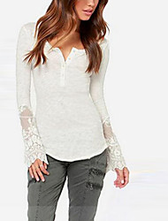 Mulheres Camiseta Casual Simples Outono,Sólido Branco / Preto Algodão Decote Redondo Manga Longa Opaca