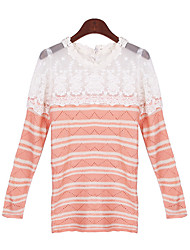 Women's Lace Blue / Pink / Black Sweaters , Casual Round Long Sleeve