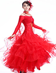 Ballroom Dance Outfits Women's Performance Rhinestones / Ruched 3 Pieces(Dress&Collar&Head flower)
