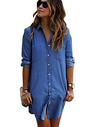 Women's Long Button Casual Pocket Jeans Shirt