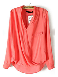Women's Solid Red / White / Yellow Shirt , V Neck Long Sleeve