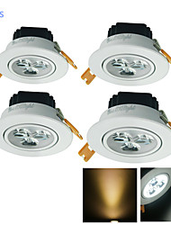 3W Lampes Encastrées 3 LED Haute Puissance 300 lm Blanc Chaud / Blanc Froid Décorative AC 100-240 / AC 110-130 V 4 pièces