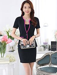Women's Solid Black Blazer , Work Round Neck Short Sleeve