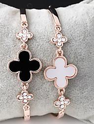 Feminino Bracelete Liga 18K ouro Amor Branco Preto Jóias 1peça