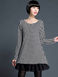 Women's Casual/Daily Plus Size Plus Size Dress,Print / Patchwork Round Neck Above Knee Long Sleeve Black Polyester Fall