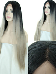 Hot Selling 2015 Ombre 1b/Grey Human Hair Wigs Silver Grey Lace Front Wig Brazilian Full Lace Wigs