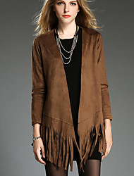 Tiffni Women's Solid Color Brown / Gray Coats & Jackets , Casual Shawl Long Sleeve