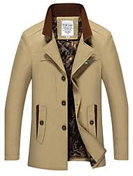 Men's Long Sleeve Long Trench coat , Cotton Pure Plus Size