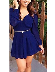 Women's Solid Blue Dress (chiffon)