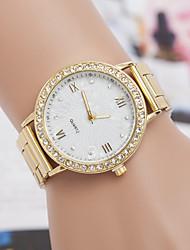 l.west orologio al quarzo banda diamanti di moda in acciaio