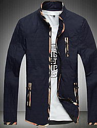 Men's Long Sleeve Casual / Plus Sizes Jacket,Cotton / Others Solid Black / Blue