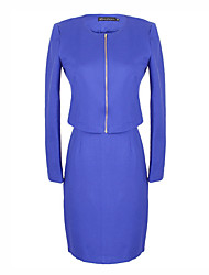 Women's Solid Color Blue / Red / Black Suits , Casual Round Long Sleeve