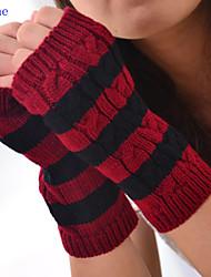 Women Leisure Stripe Twist Knitwear Fingerless Gloves , Casual