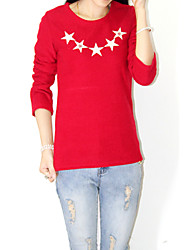 Women's Print Red T-shirt , Round Neck Long Sleeve