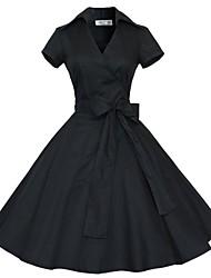 Klassische & Traditionelle Lolita Kurzarm Mittlerer Länge Schwarz Baumwolle Lolita Kleid