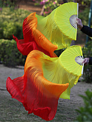 2015 Hot Selling Belly Dance 100% Real Silk Fan Veils Silk Fabric Veils Yellow-Orange-Red 2pcs/L+R
