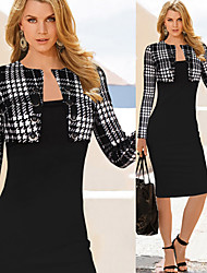 Melos Women's Check / Patchwork Black Dresses , Sexy / Bodycon / Casual / Party High Rise Long Sleeve