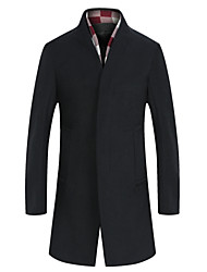 Men's Long Sleeve Long Coat , Tweed / Wool Pure Men's clothing woolen cloth coat to keep warm winter wind coat