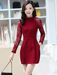 Women's Solid / Patchwork / Lace Red / Black Dress , Vintage / Sexy / Lace Crew Neck Long Sleeve