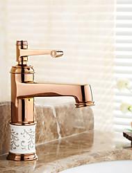 Bathroom Sink Faucet Rose Gold Finish Single Handle Centerset Faucet