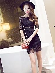 Women's Sexy/Bodycon Micro Elastic Knee-length Dress (Lace)