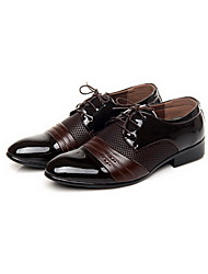 Sapatos Masculinos Oxfords Preto / Marrom Courino Casual