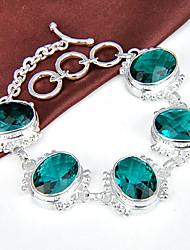 melhor preço incêndio ovais verdes quartzo gema 0,925 prata pulseiras pulseiras corrente de ligação para festa de casamento diária 1 pc