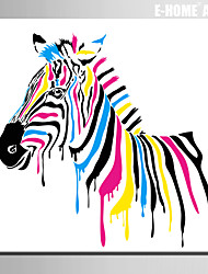 E-HOME® Stretched Canvas Art Colored Zebra Decoration Painting  One Pcs