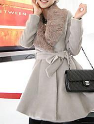 Mulheres Casaco Trench Outono,Sólido Cinza Pêlo SintéticoManga Longa