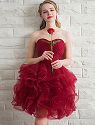 Short / Mini Organza Bridesmaid Dress Ball Gown Sweetheart with Cascading Ruffles