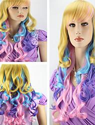 vrouwen modieuze lang krullend golvend multi color straight cosplay pruik lolita partij pruiken met kant bang