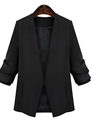 Mulheres Blazer Plus Sizes Inverno,Sólido Preto Poliéster Assimétrico Manga Longa Opaca