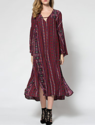 Women's Party/Cocktail Vintage Loose / Swing Dress,Paisley V Neck Midi Long Sleeve Red Cotton Spring
