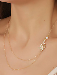 Women's Simple Metal Hollow Leaves Sweet Pearl Double Chain Pendant Necklace Fashion Jewelry