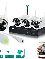 ZOSI®4CH CCTV System 720P HDMI NVR 4PCS 1.0 MP IR Outdoor P2P Wireless IP CCTV Camera Security System Surveillance Kit