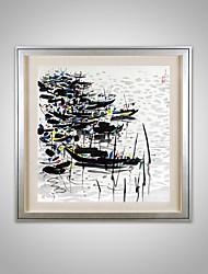 Ink Painting Effect Boat Group Paper Painting Only Without Anyframe