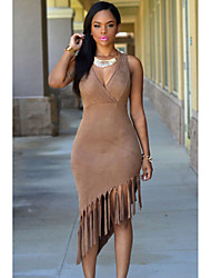 Women's Faux Suede Fringe Dress