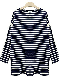 Unni Women's Striped White / Black T-Shirts , Casual Round Long Sleeve Plus Size