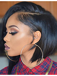 8-12 Inch Short Bob Side Part Natural Remy Virgin Human Hair Lace Front Wigs