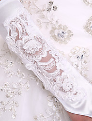 White Flower Bride Glove Top-rated Elbow Length Glove Elastic Satin Wedding Bridal Gloves With DIY Pearls and Rhinestones