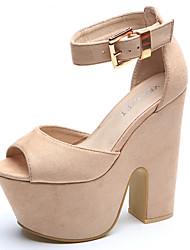 Women's Shoes Fabric Chunky Heel Heels / Peep Toe / Platform Sandals Dress / Casual Black / Yellow / Beige